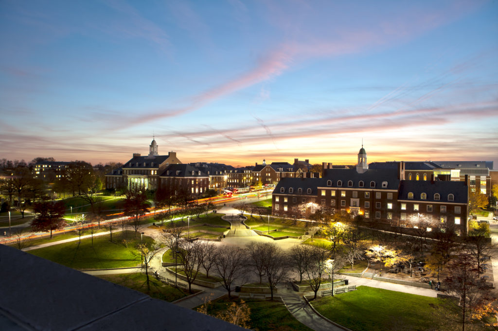 View of sunset and dusk looking over Hornbake Plaza, from the roof of McKeldin Library.